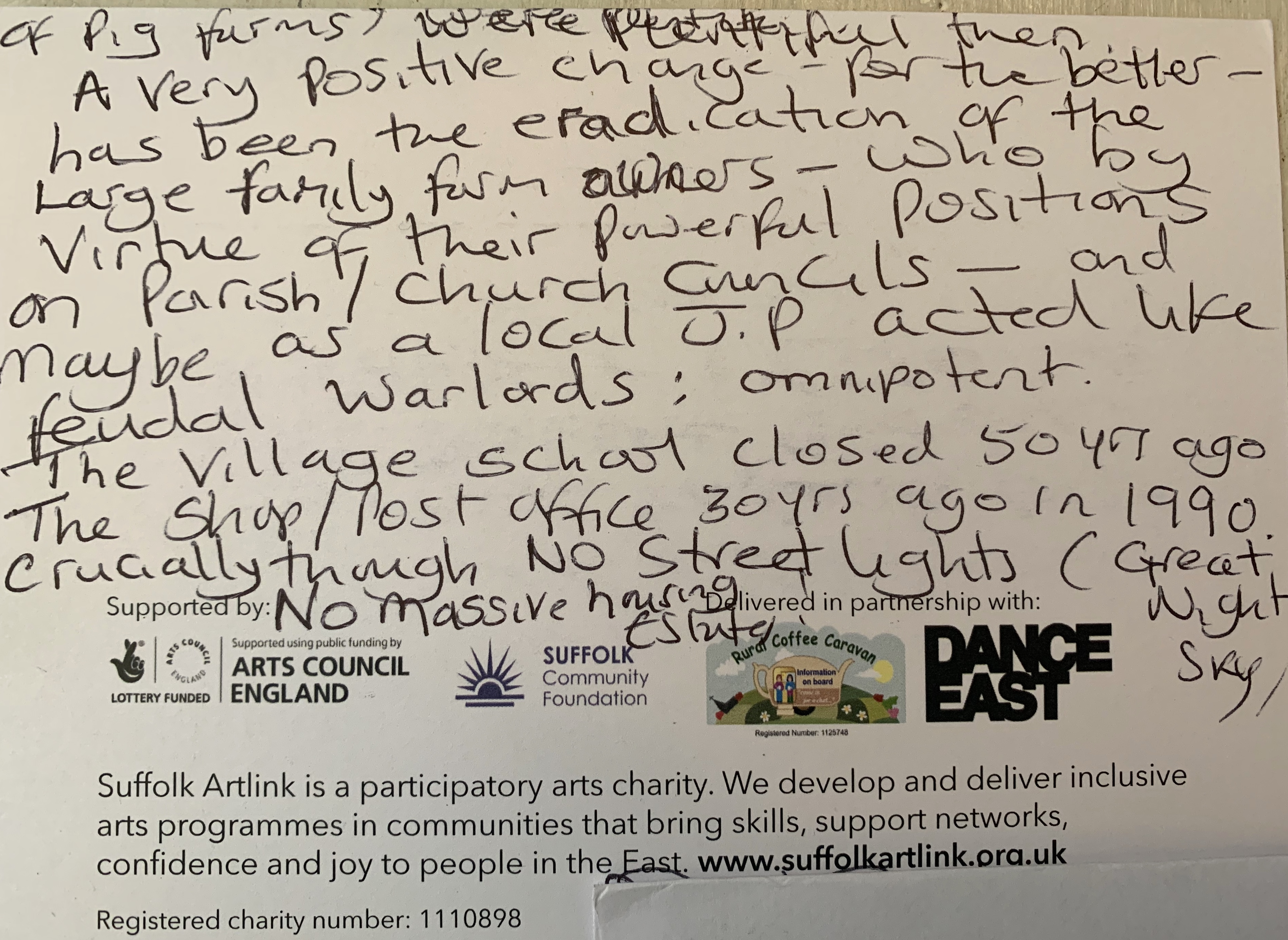 The reverse of previous postcard, in which the writer says that one positive change has been the eradication of large family farm owners who, in previous years, had become very powerful.