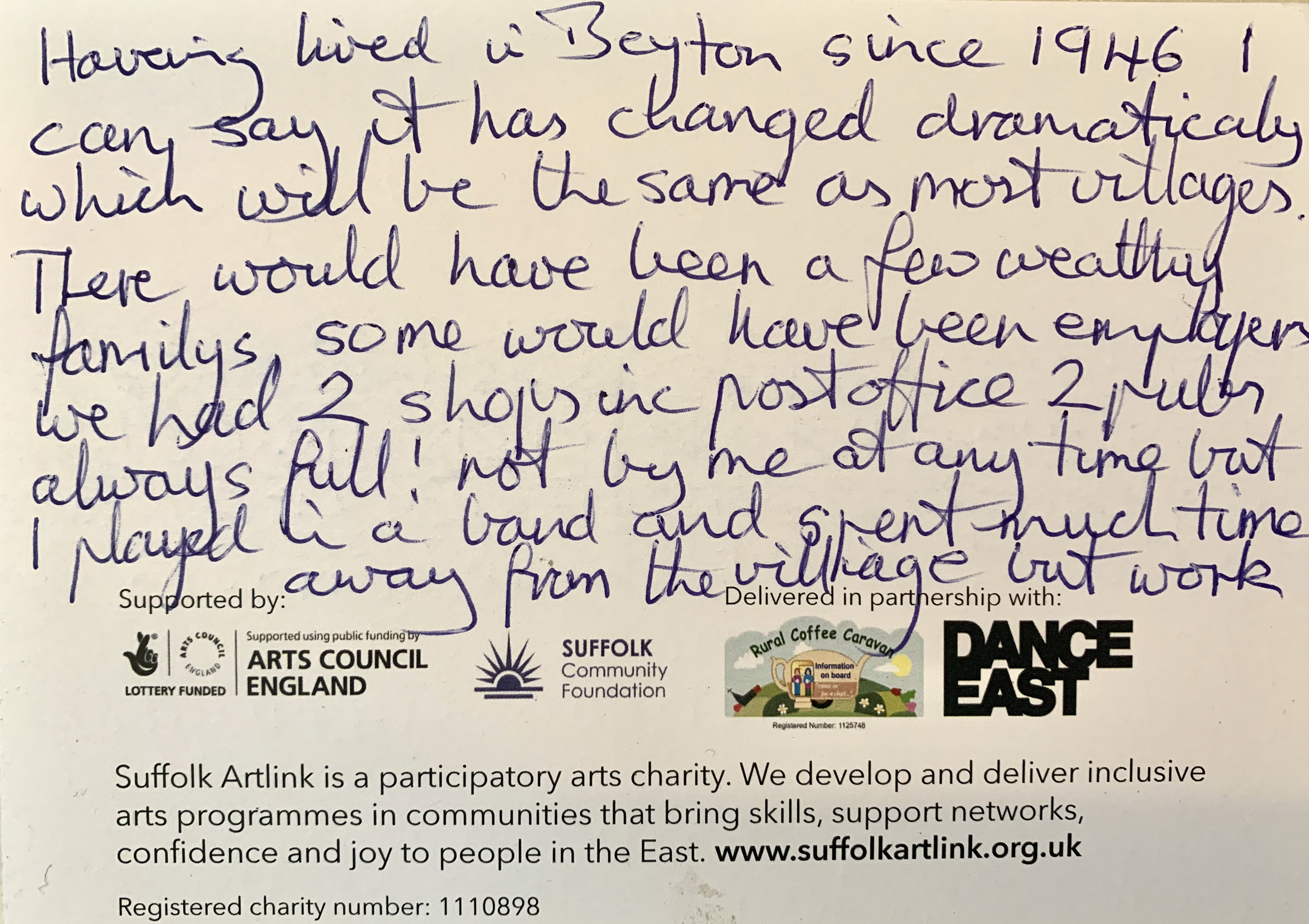 The reverse of the previous card, the writer says the village has changed dramatically over the years.