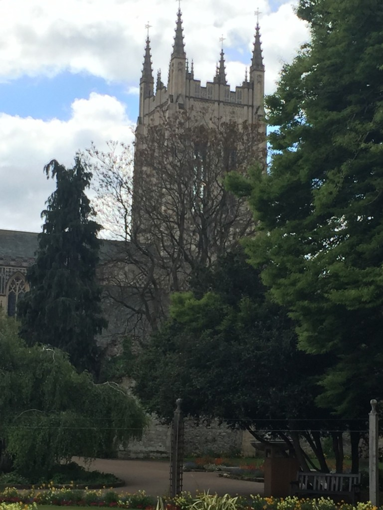 The spire of Bury St Edmunds cathedral rises behind trees and shrubs in the Abbey Gardens