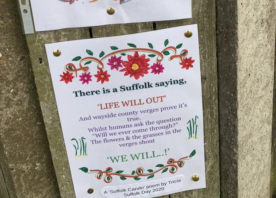 A poster pinned to a wooden fence with a Cando poem entitled Life Will Out